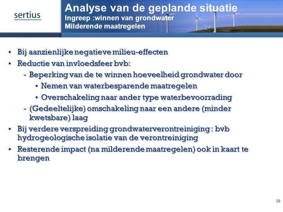 Analyse van de geplande situatie Ingreep :winnen van grondwater Milderende maatregelen