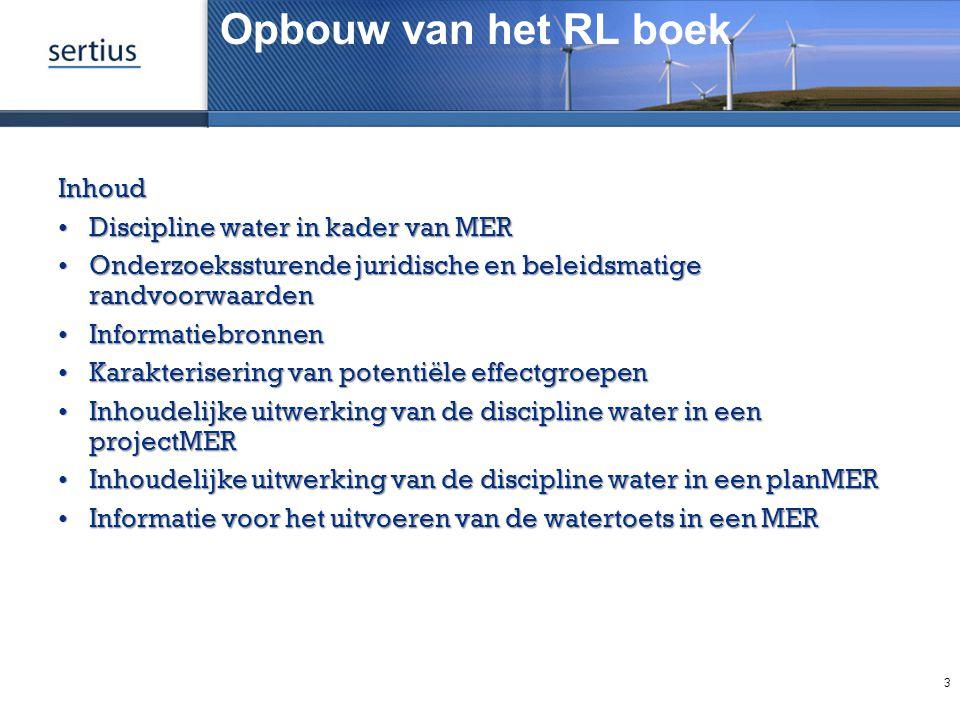 Opbouw van het RL boek Inhoud Discipline water in kader van MER