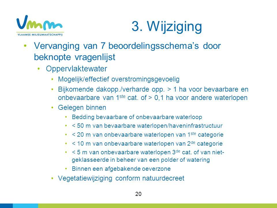 3. Wijziging Vervanging van 7 beoordelingsschema's door beknopte vragenlijst. Oppervlaktewater. Mogelijk/effectief overstromingsgevoelig.