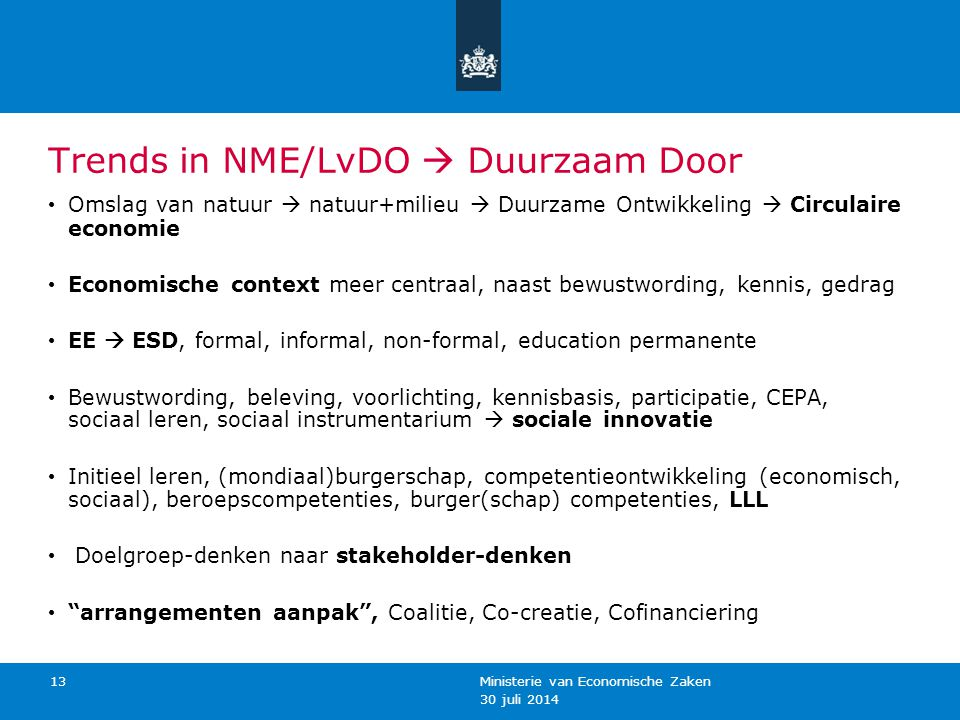 Trends in NME/LvDO  Duurzaam Door