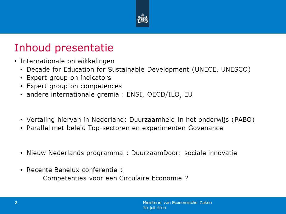 Inhoud presentatie Internationale ontwikkelingen