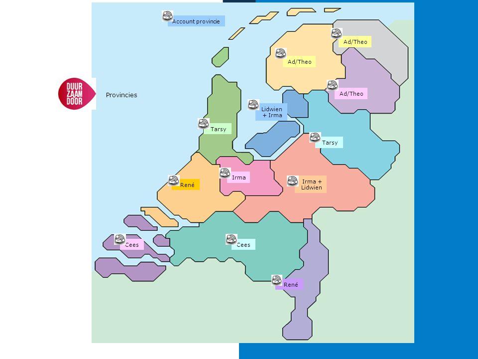 Account provincie Ad/Theo. Ad/Theo. Provincies. Ad/Theo. Lidwien+ Irma. Tarsy. Tarsy. Irma. Irma + Lidwien.