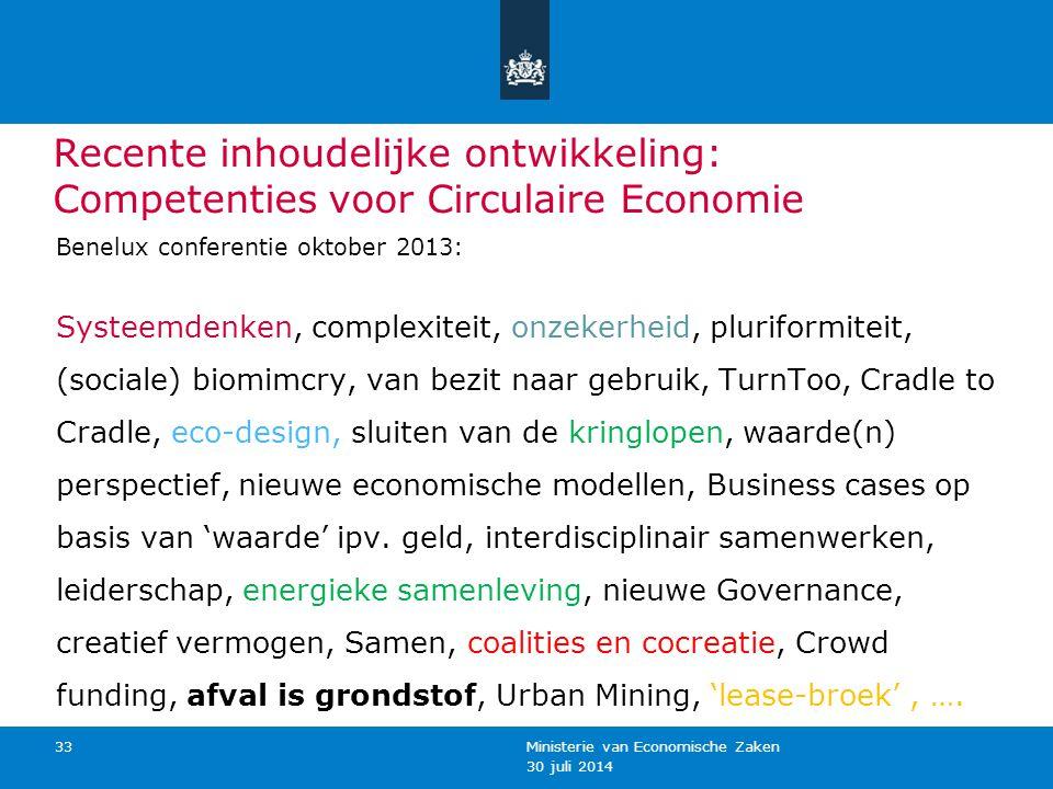 Recente inhoudelijke ontwikkeling: Competenties voor Circulaire Economie