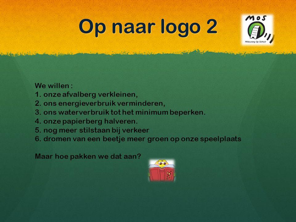 Op naar logo 2 We willen : 1. onze afvalberg verkleinen,