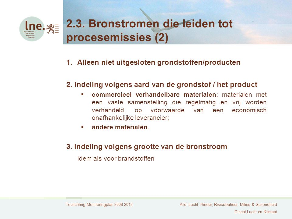 2.3. Bronstromen die leiden tot procesemissies (2)