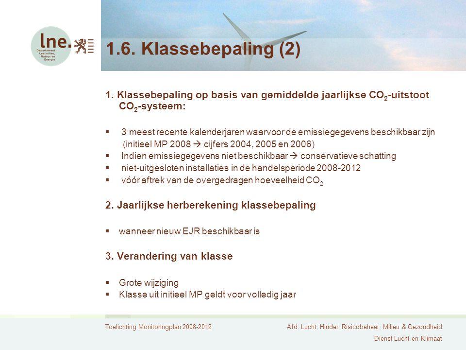 1.6. Klassebepaling (2) 1. Klassebepaling op basis van gemiddelde jaarlijkse CO2-uitstoot CO2-systeem: