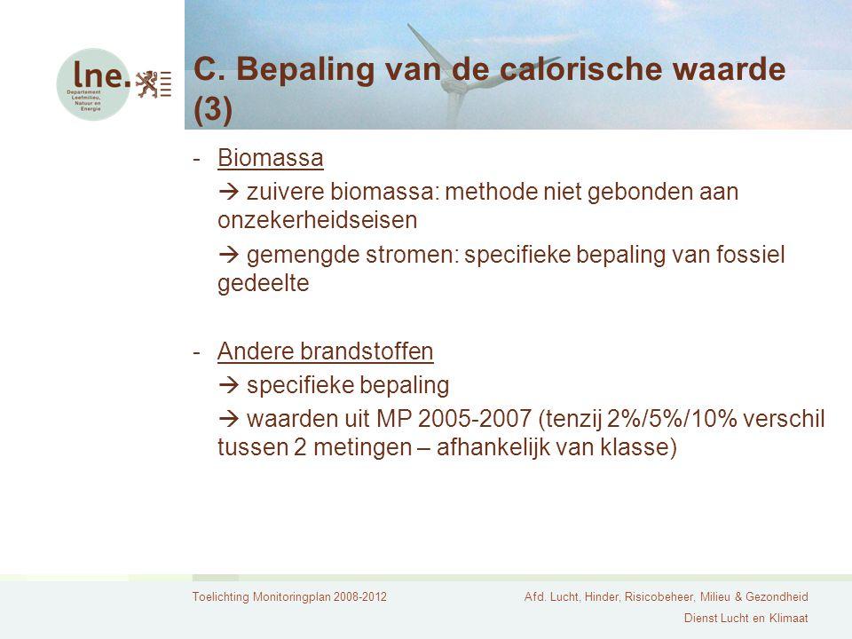 C. Bepaling van de calorische waarde (3)