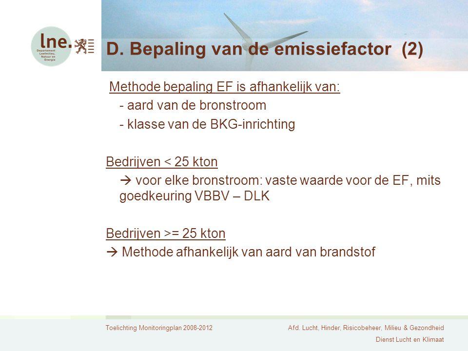 D. Bepaling van de emissiefactor (2)