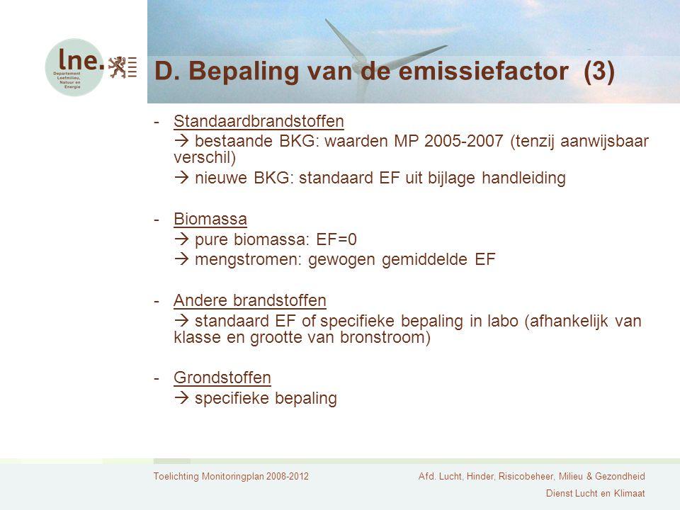 D. Bepaling van de emissiefactor (3)