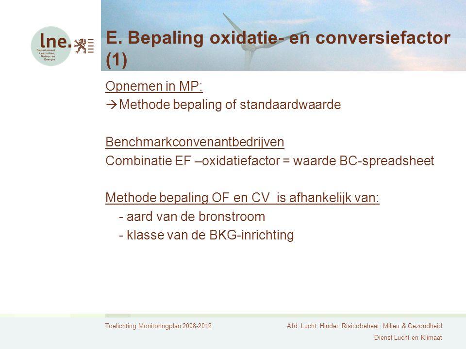 E. Bepaling oxidatie- en conversiefactor (1)