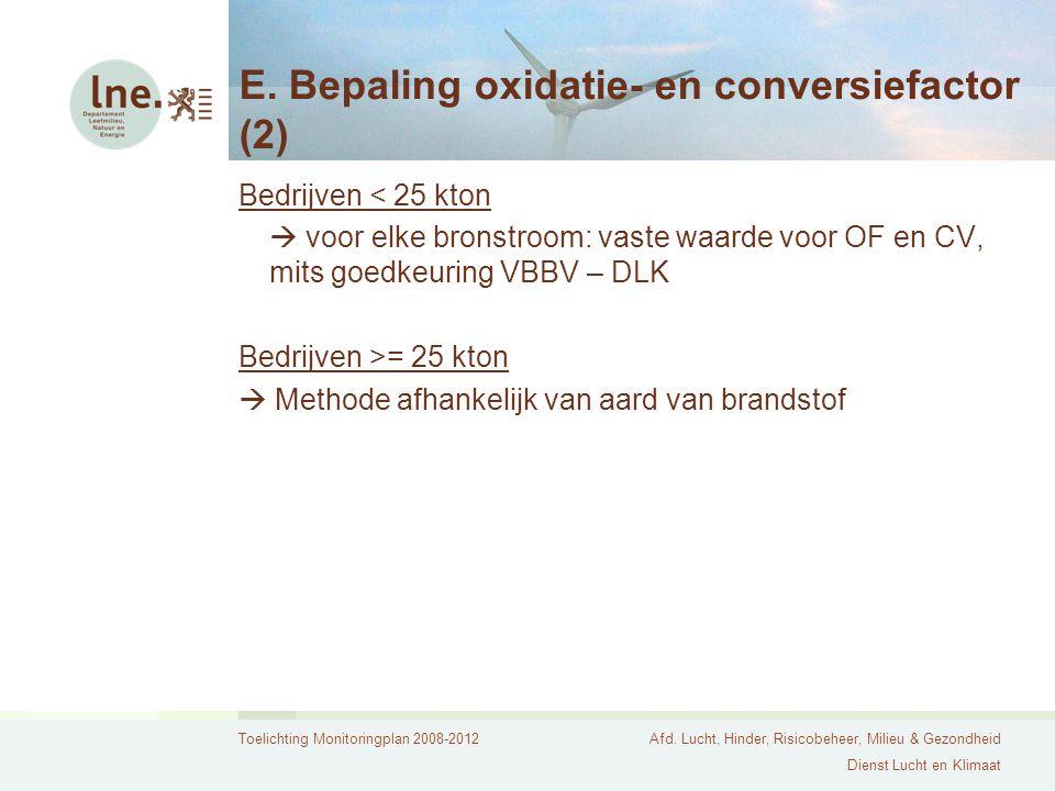 E. Bepaling oxidatie- en conversiefactor (2)