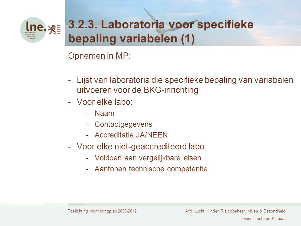 3.2.3. Laboratoria voor specifieke bepaling variabelen (1)