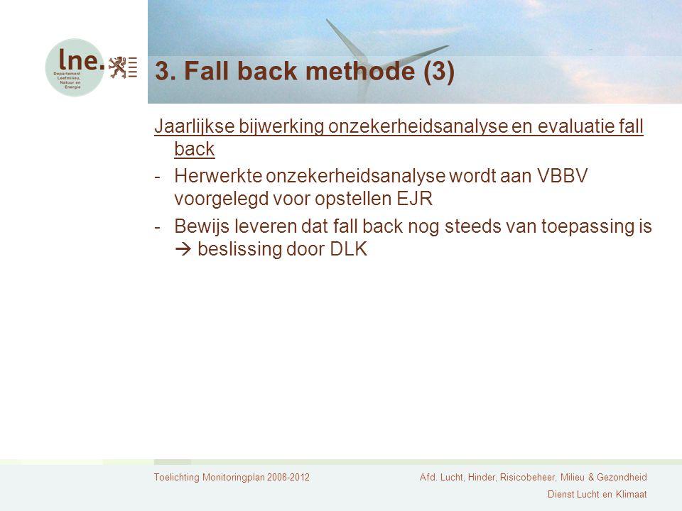 3. Fall back methode (3) Jaarlijkse bijwerking onzekerheidsanalyse en evaluatie fall back.