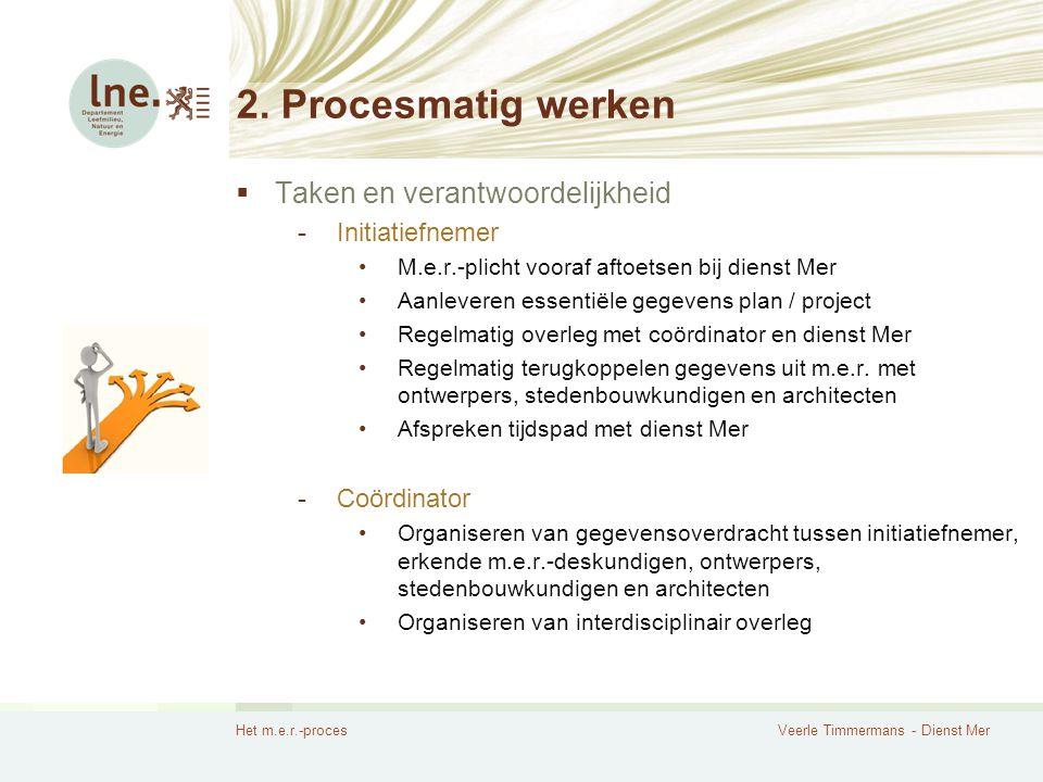2. Procesmatig werken Taken en verantwoordelijkheid Initiatiefnemer