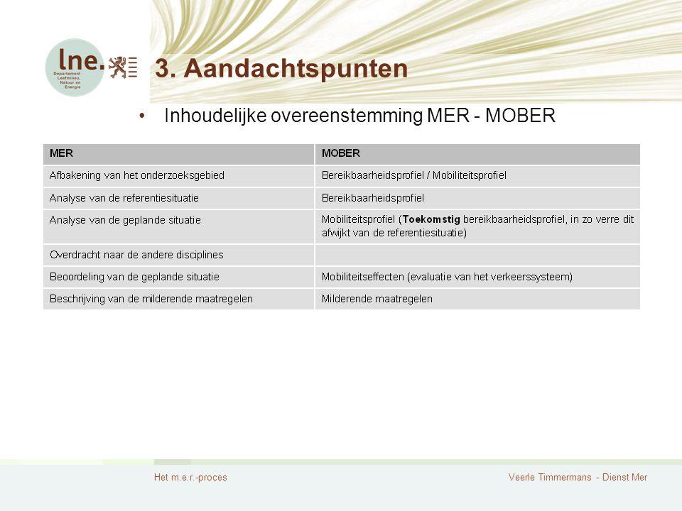 3. Aandachtspunten Inhoudelijke overeenstemming MER - MOBER