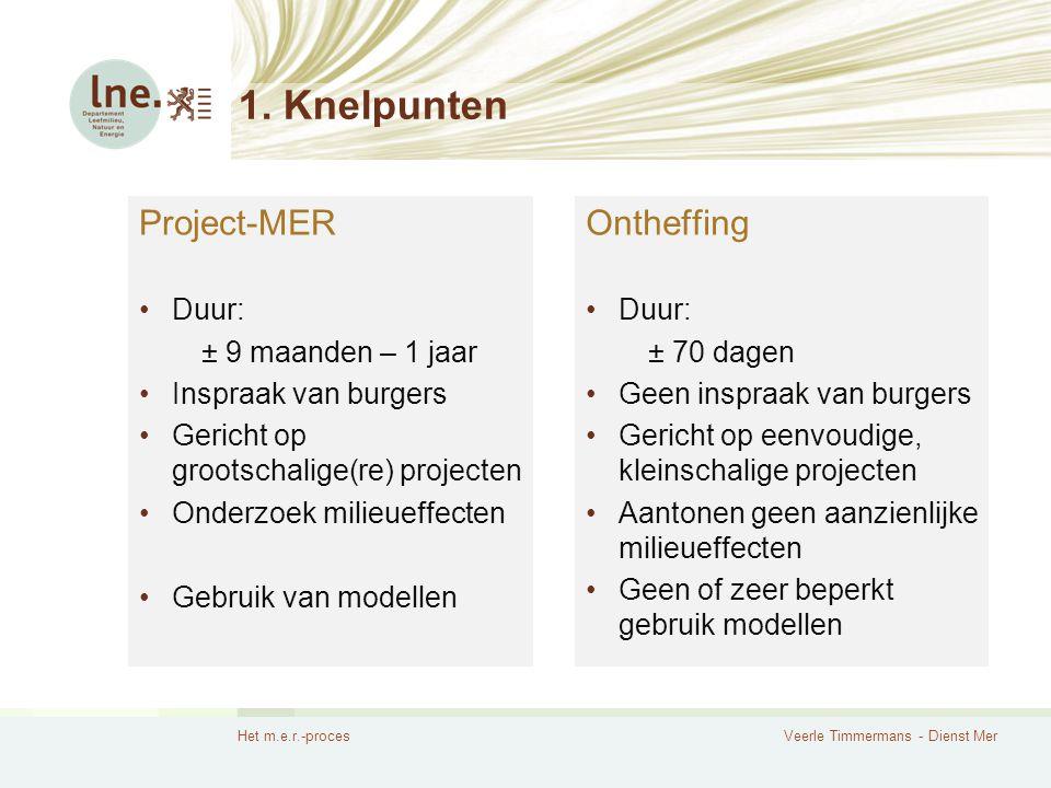 1. Knelpunten Project-MER Ontheffing Duur: ± 9 maanden – 1 jaar