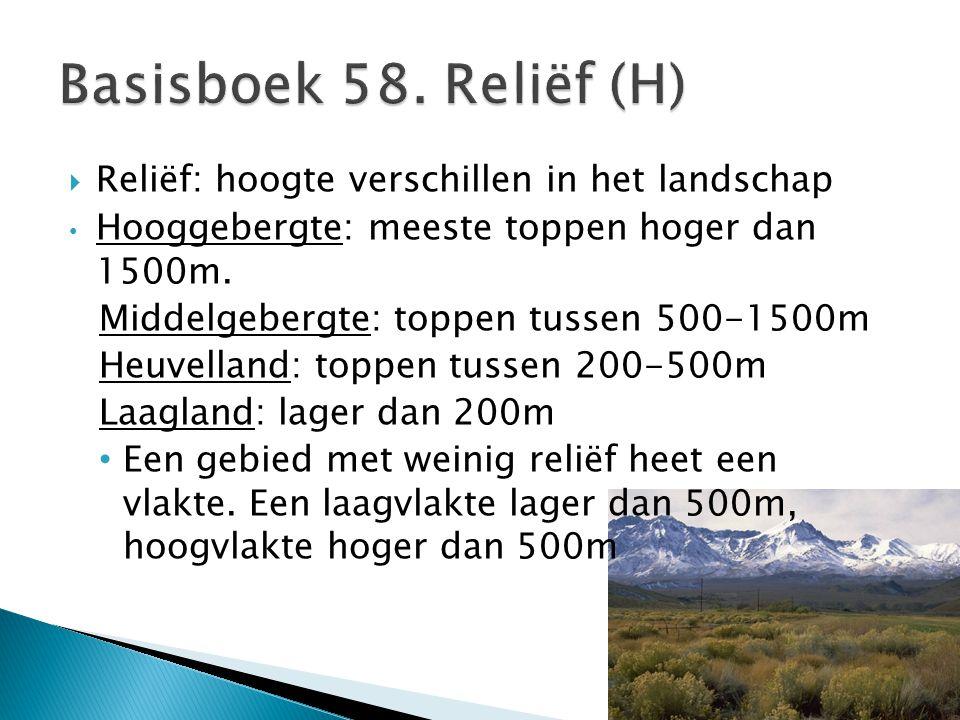 Basisboek 58. Reliëf (H) Reliëf: hoogte verschillen in het landschap