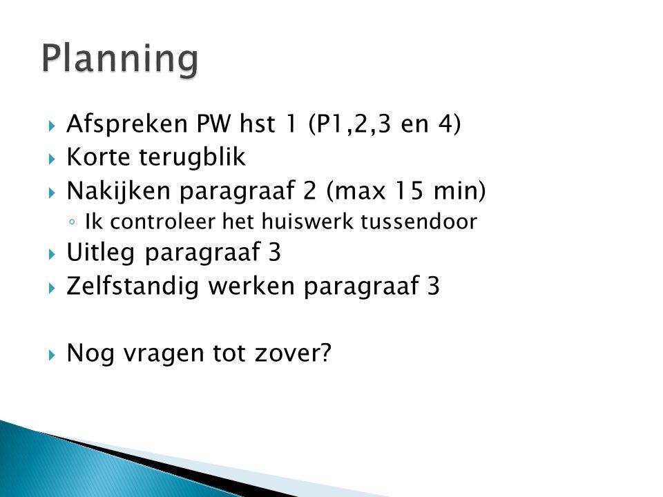 Planning Afspreken PW hst 1 (P1,2,3 en 4) Korte terugblik