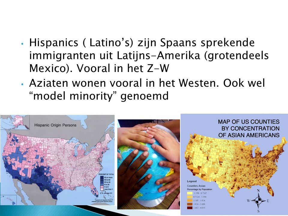 Hispanics ( Latino's) zijn Spaans sprekende immigranten uit Latijns-Amerika (grotendeels Mexico). Vooral in het Z-W