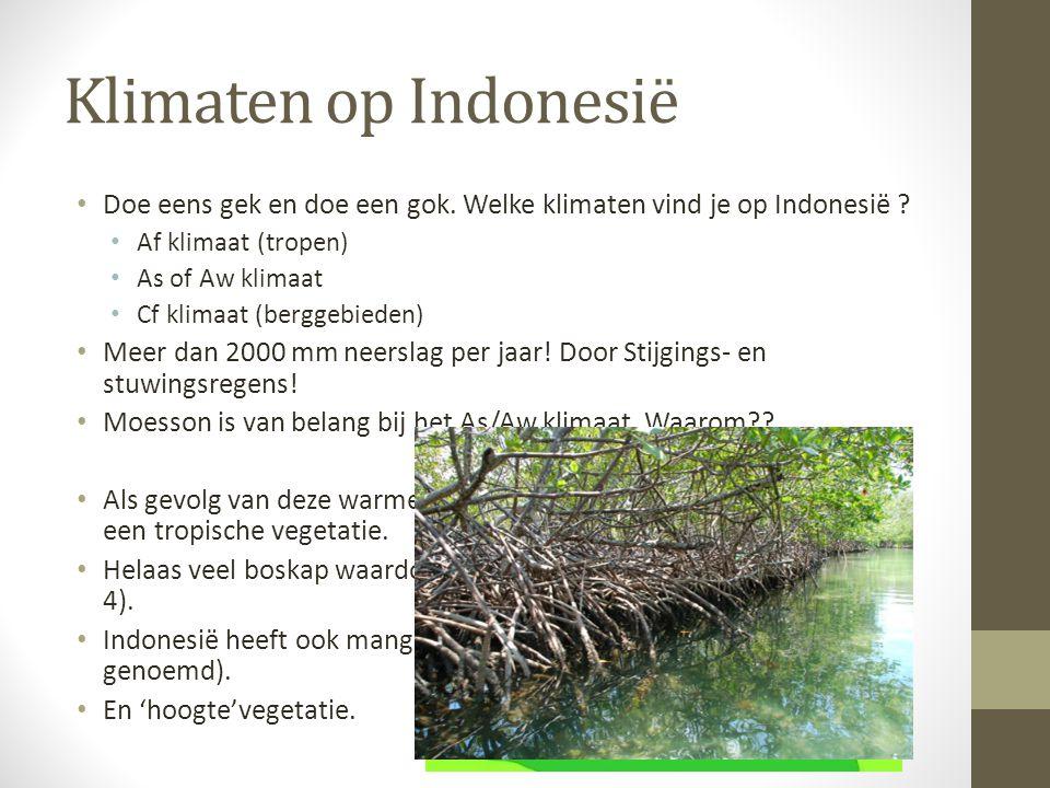 Klimaten op Indonesië Doe eens gek en doe een gok. Welke klimaten vind je op Indonesië Af klimaat (tropen)