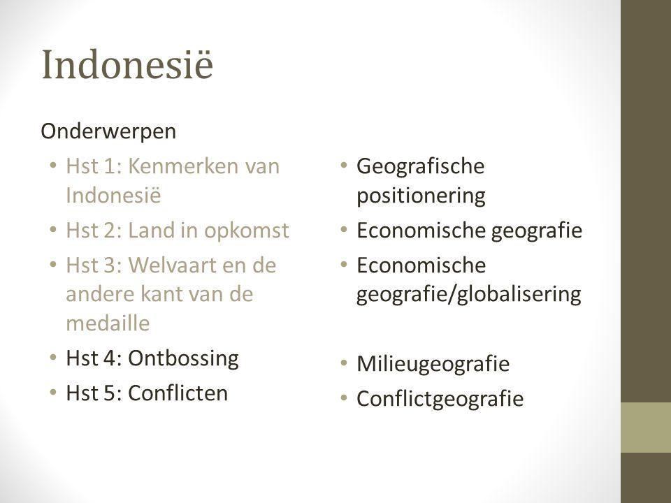 Indonesië Onderwerpen Hst 1: Kenmerken van Indonesië