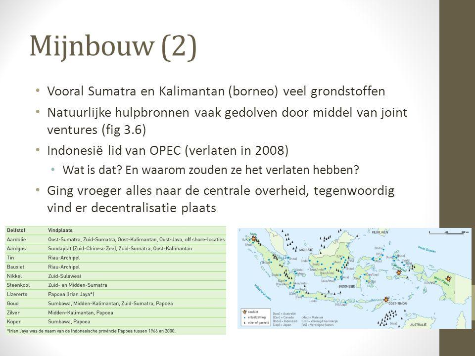Mijnbouw (2) Vooral Sumatra en Kalimantan (borneo) veel grondstoffen