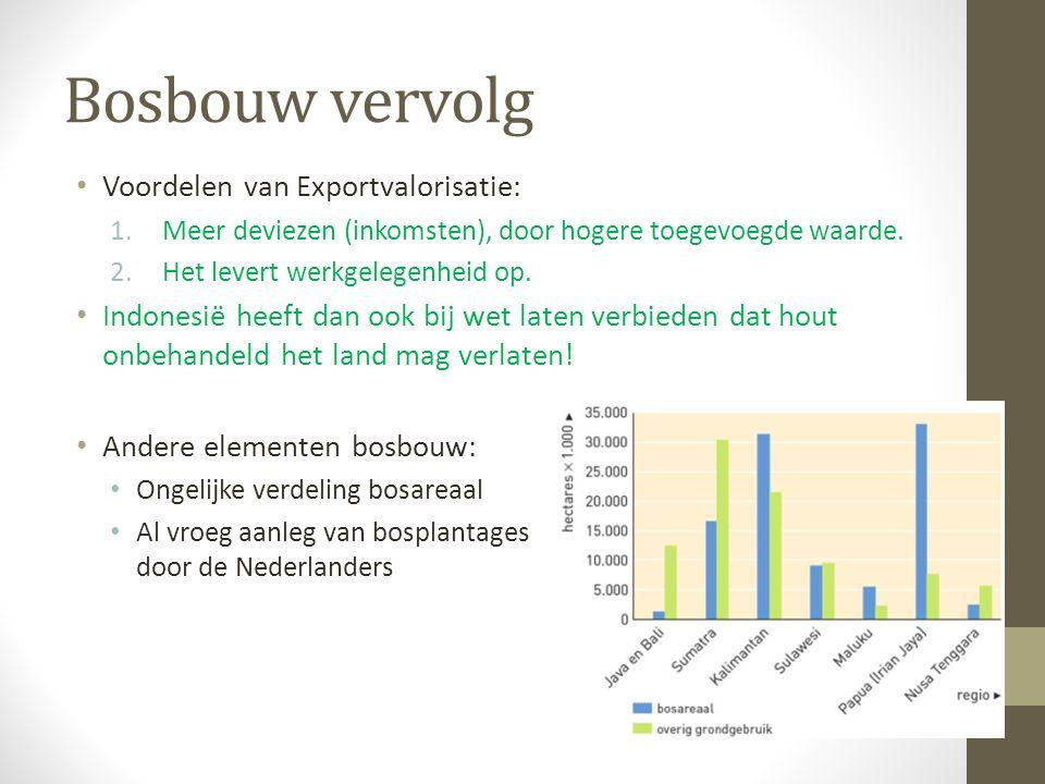 Bosbouw vervolg Voordelen van Exportvalorisatie: