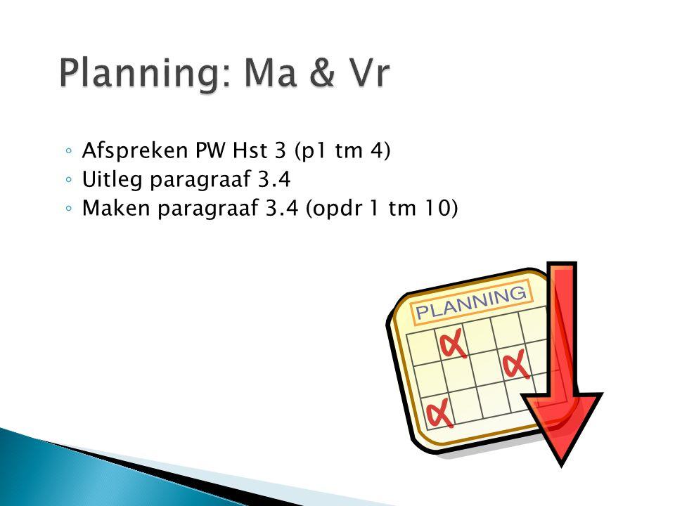 Planning: Ma & Vr Afspreken PW Hst 3 (p1 tm 4) Uitleg paragraaf 3.4