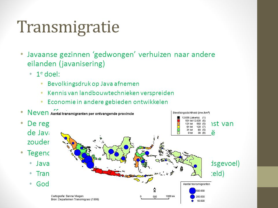 Transmigratie Javaanse gezinnen 'gedwongen' verhuizen naar andere eilanden (javanisering) 1e doel: