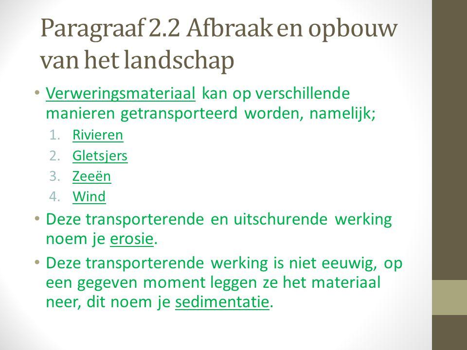 Paragraaf 2.2 Afbraak en opbouw van het landschap