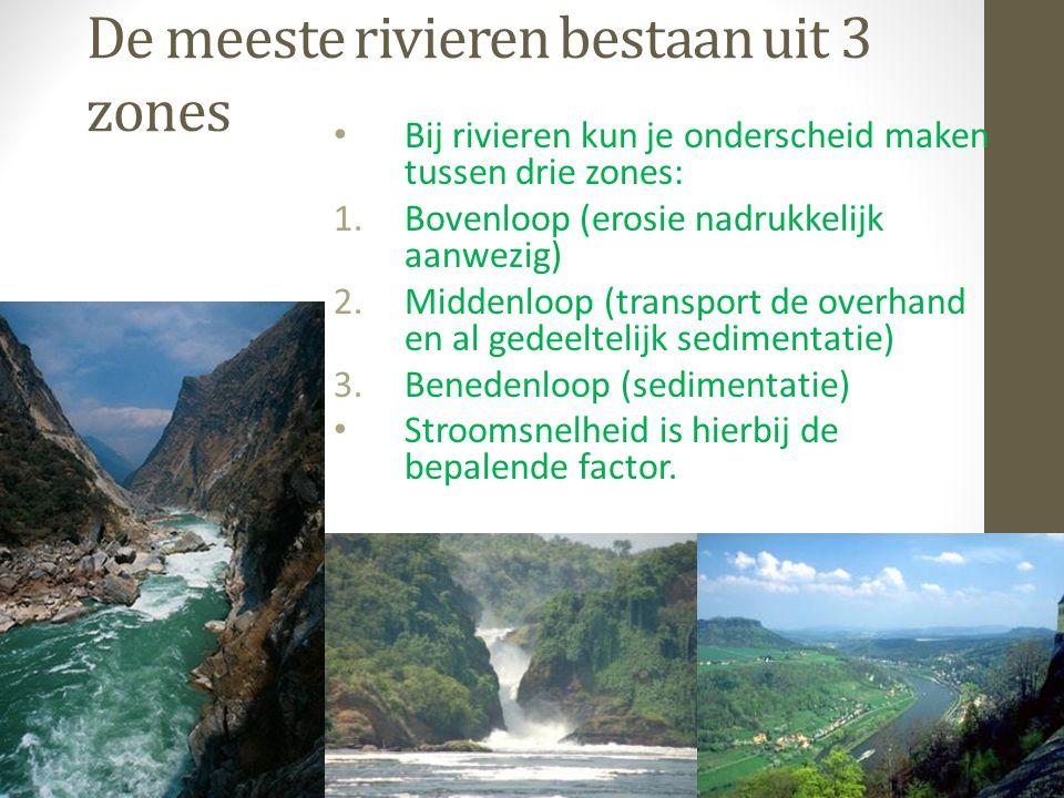 De meeste rivieren bestaan uit 3 zones