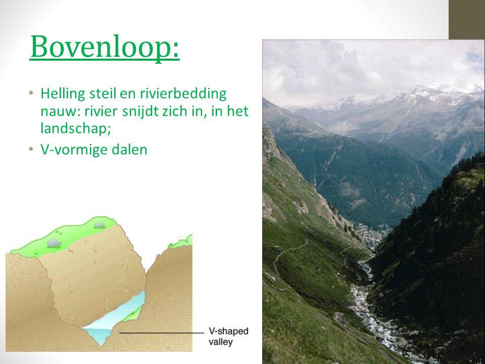 Bovenloop: Helling steil en rivierbedding nauw: rivier snijdt zich in, in het landschap; V-vormige dalen.
