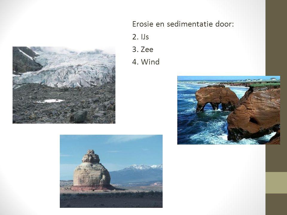 Erosie en sedimentatie door: 2. IJs 3. Zee 4. Wind