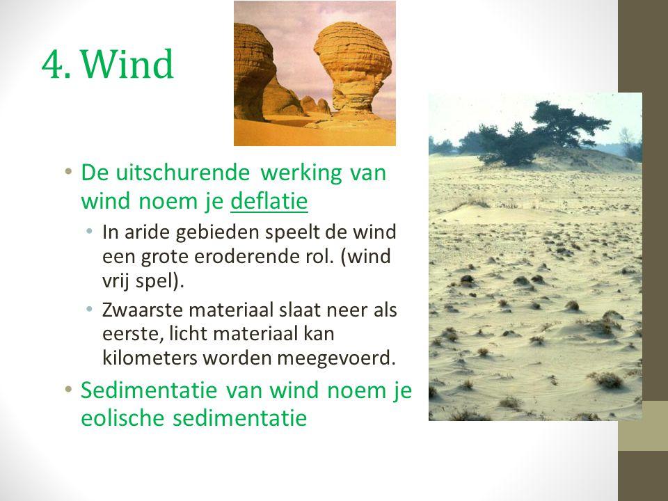 4. Wind De uitschurende werking van wind noem je deflatie