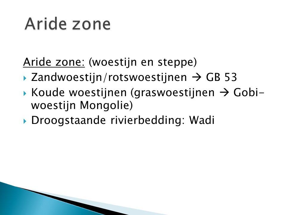Aride zone Aride zone: (woestijn en steppe)
