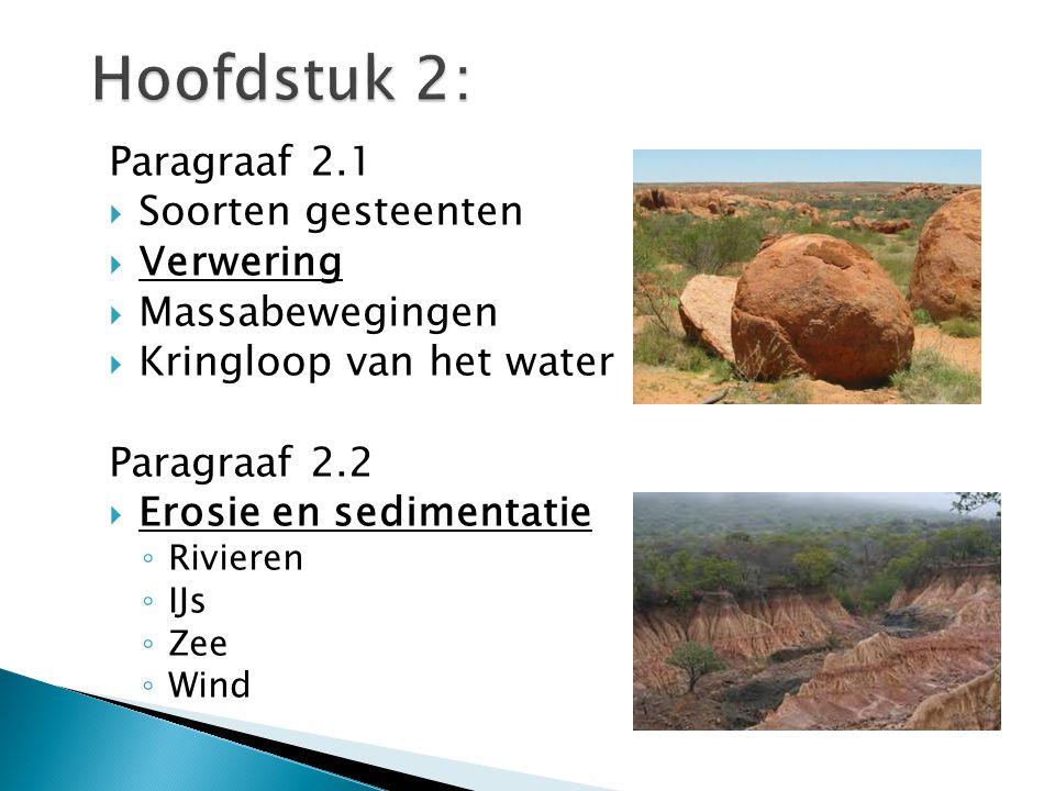 Hoofdstuk 2: Paragraaf 2.1 Soorten gesteenten Verwering