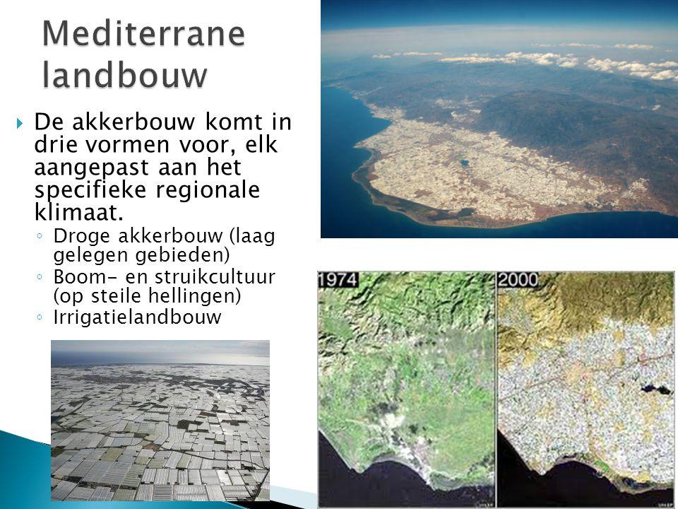 Mediterrane landbouw De akkerbouw komt in drie vormen voor, elk aangepast aan het specifieke regionale klimaat.