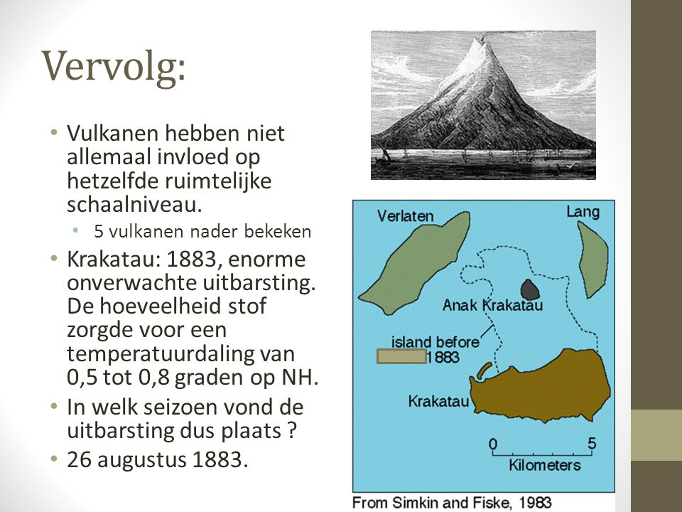 Vervolg: Vulkanen hebben niet allemaal invloed op hetzelfde ruimtelijke schaalniveau. 5 vulkanen nader bekeken.