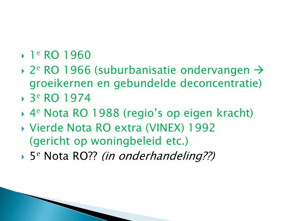 1e RO 1960 2e RO 1966 (suburbanisatie ondervangen  groeikernen en gebundelde deconcentratie) 3e RO 1974.