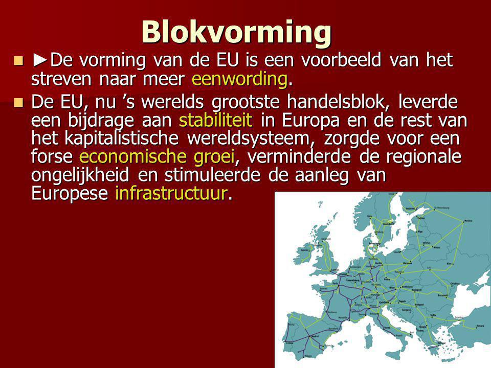 Blokvorming ►De vorming van de EU is een voorbeeld van het streven naar meer eenwording.