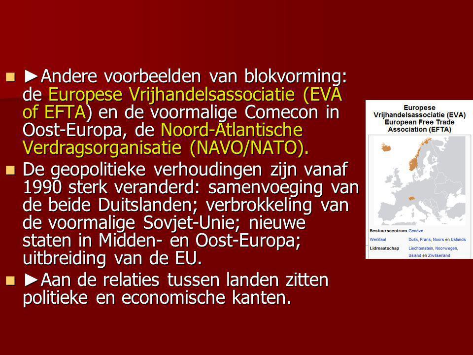 ►Andere voorbeelden van blokvorming: de Europese Vrijhandelsassociatie (EVA of EFTA) en de voormalige Comecon in Oost-Europa, de Noord-Atlantische Verdragsorganisatie (NAVO/NATO).
