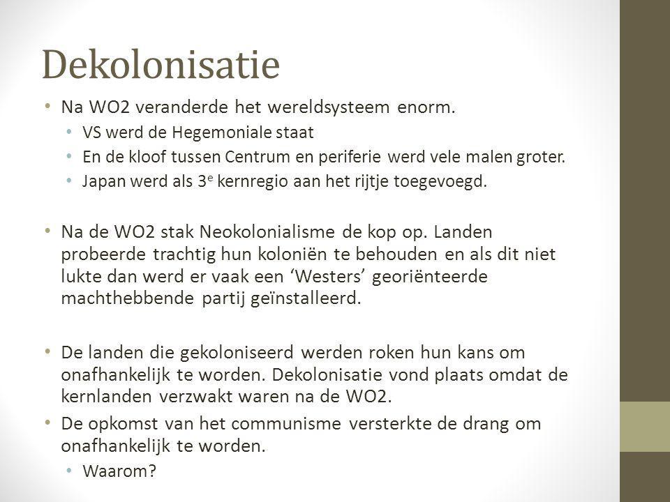 Dekolonisatie Na WO2 veranderde het wereldsysteem enorm.