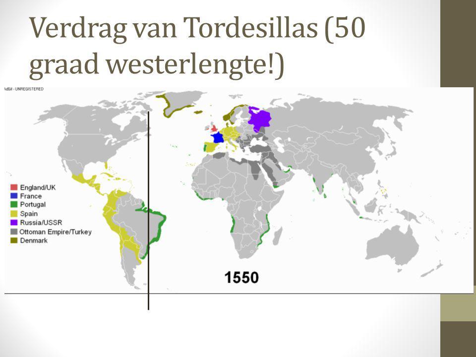 Verdrag van Tordesillas (50 graad westerlengte!)