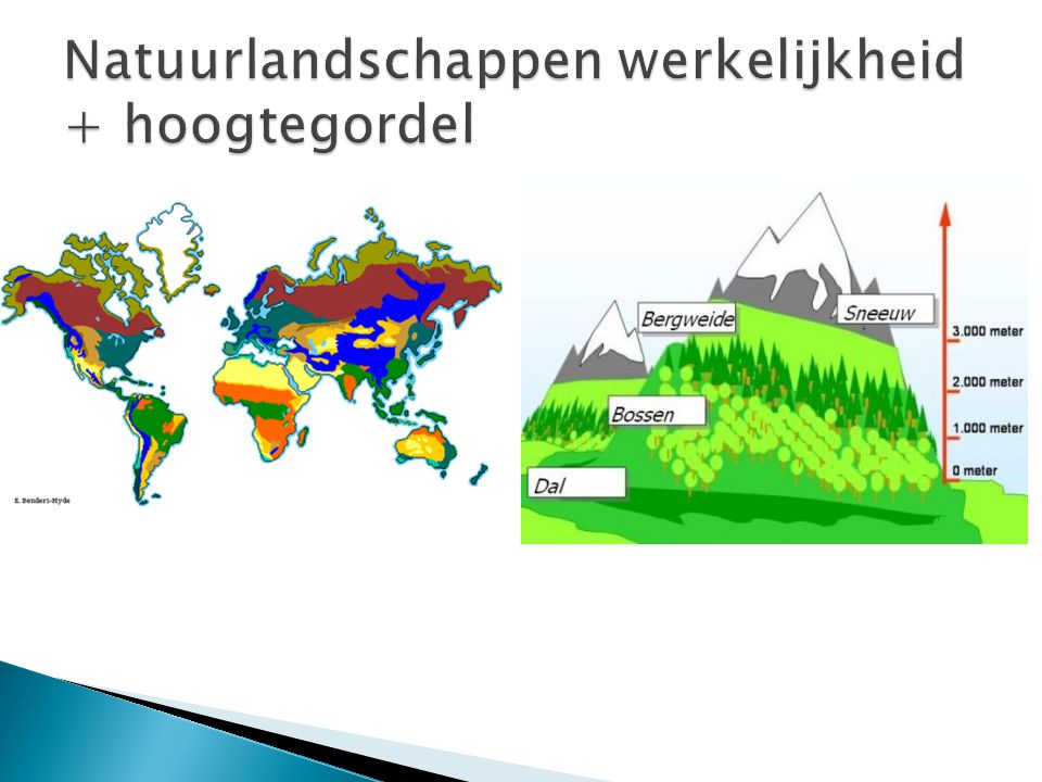 Natuurlandschappen werkelijkheid + hoogtegordel