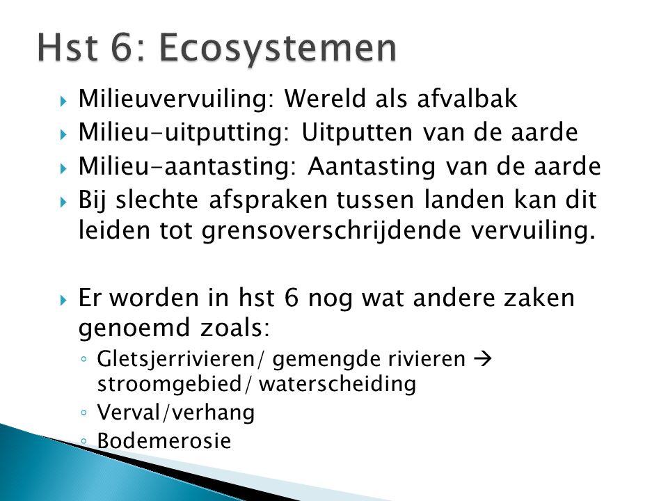 Hst 6: Ecosystemen Milieuvervuiling: Wereld als afvalbak