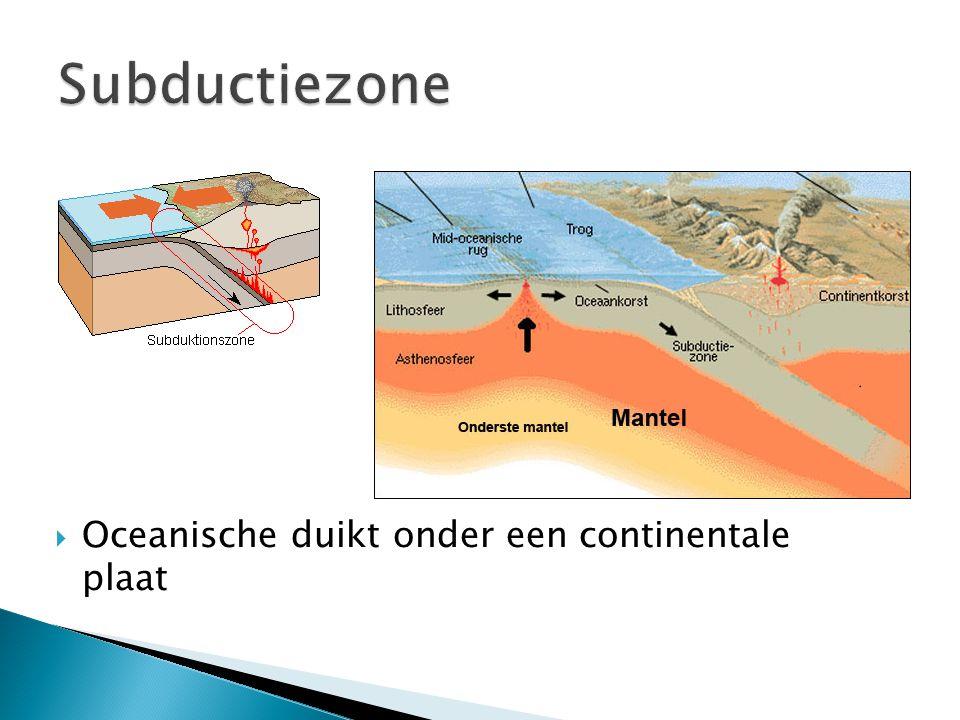 Subductiezone Oceanische duikt onder een continentale plaat