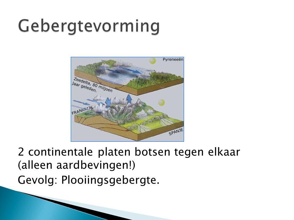 Gebergtevorming 2 continentale platen botsen tegen elkaar (alleen aardbevingen!) Gevolg: Plooiingsgebergte.