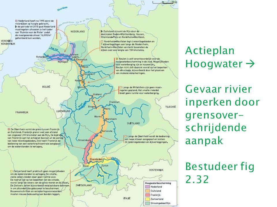 Actieplan Hoogwater  Gevaar rivier inperken door grensover-schrijdende aanpak Bestudeer fig 2.32