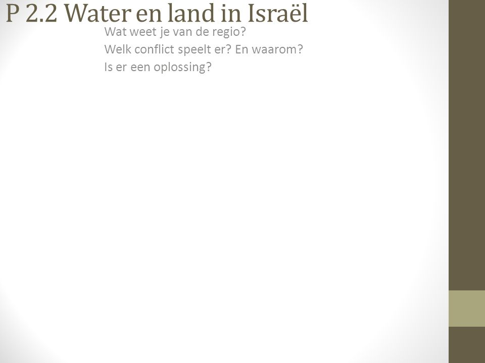 P 2.2 Water en land in Israël