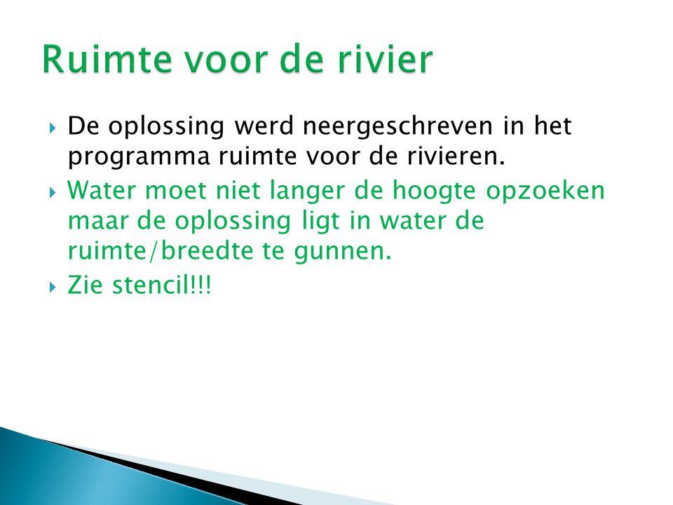 Ruimte voor de rivier De oplossing werd neergeschreven in het programma ruimte voor de rivieren.